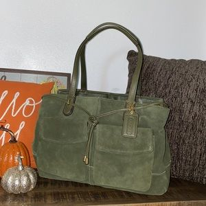 Green suede  & leather coach purse